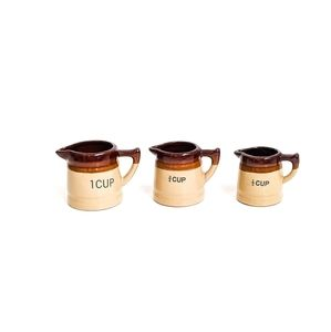 Vintage POTTERY Stoneware MEASURING Cups